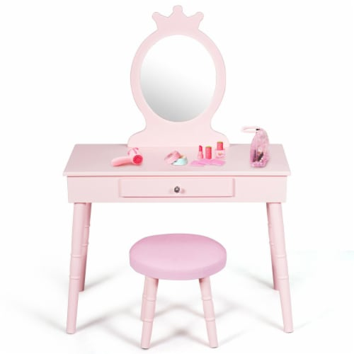 Gymax Kids Vanity Makeup Table & Chair Set Make Up Stool Play Set for Children Pink Perspective: back