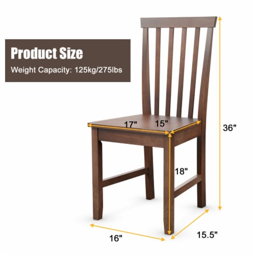 Costway 4 PCS Dining Chair Kitchen Spindle Back Side Chair with Solid Wooden Leg Perspective: back