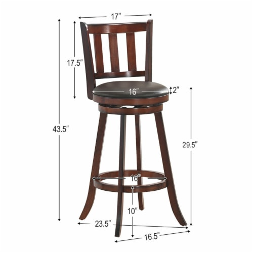 Costway Set of 2 29.5'' Swivel Bar stool Leather Padded Dining Kitchen Pub Bistro Chair High Perspective: back