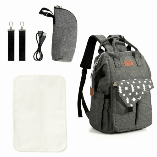 Gymax Diaper Bag Waterproof Baby Nappy Backpack w/USB Charging Port Perspective: back