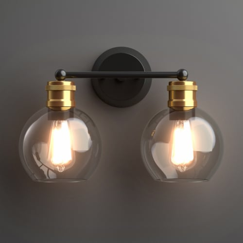 Costway 2 light Vanity Bathroom Light with 7 in Round Clear Glass Shade Vintage Wall Sconce Perspective: back