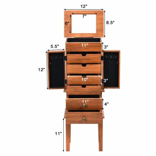 Costway Vintage Jewelry Cabinet Chest Storage Organizer Drawers&Mirror Perspective: back