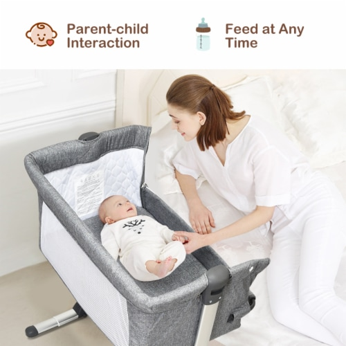 Baby joy Portable Baby Bed Side Sleeper Infant Travel Bassinet Crib W/Carrying Bag Grey Perspective: back