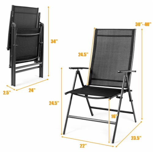 Costway 4PCS Patio Folding Dining Chair Recliner Adjustable Black Perspective: back