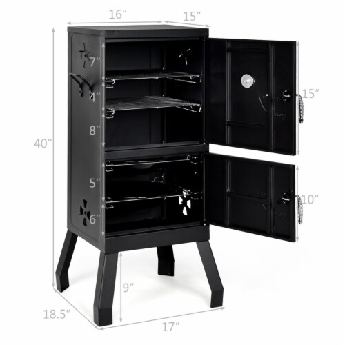 Costway Vertical Charcoal Smoker BBQ Barbecue Grill w/ Temperature Gauge Outdoor Black Perspective: back