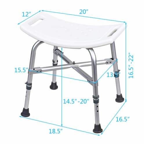 Costway Shower Chair Bath Stool 6 Adjustable Height Bathtub Seat Transfer Bench Non-Slip Perspective: back