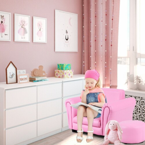 Costway Pink Kids Sofa Armrest Chair Couch Children Toddler Birthday Gift w/ Ottoman Perspective: back
