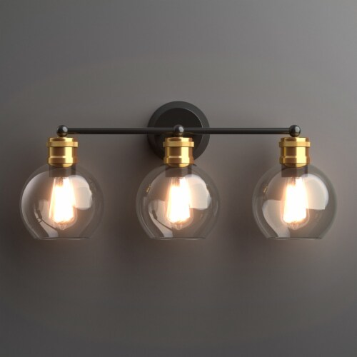 Costway 3-light Vanity Bathroom Light with 7 in Round Clear Glass Shade Vintage Wall Sconce Perspective: back