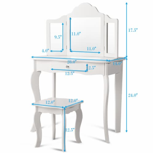 Costway Vanity Table Set Makeup Dressing Table Stool with mirror Perspective: back