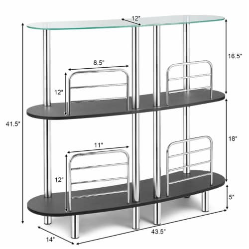 Costway Bar Table Wine Storage Home Liquor Pub Table w/Tempered Glass Top & 2 Shelves Perspective: back