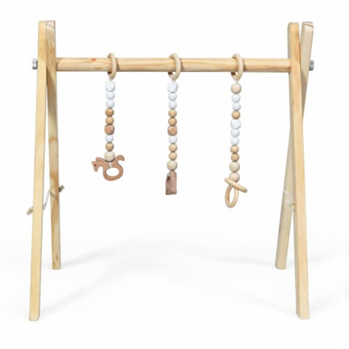 Foldable Wooden Baby Gym with 3 Wooden Baby Teething Toys Hanging Bar Natural Perspective: back