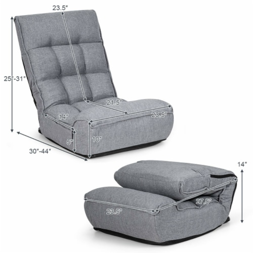 Costway 4-Position Floor Chair Folding Lazy Sofa w/Adjustable Backrest& Headrest Gray Perspective: back