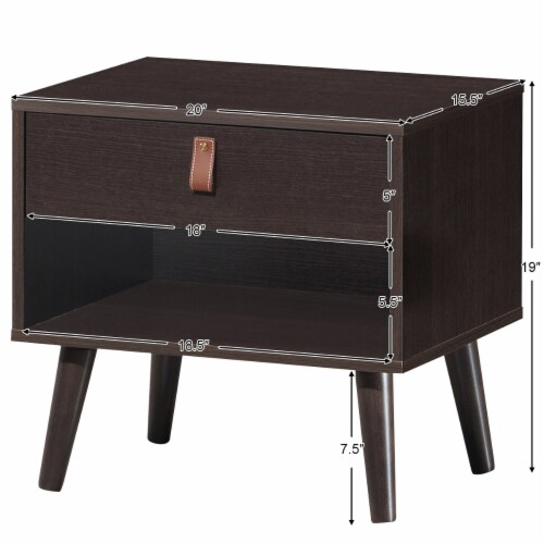 Costway Nightstand Sofa Side End Table Bedside Table Drawer Storage Perspective: back