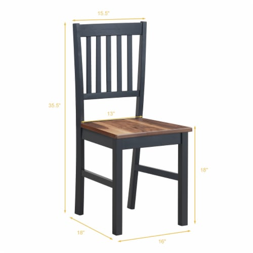 Set of 4 Dining Chair Kitchen Black Spindle Back Side Chair with Solid Wooden Legs Perspective: back