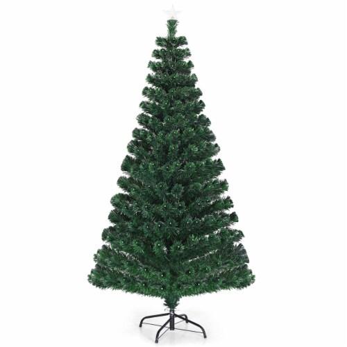 Costway Fiber Optic Pre-Lit Christmas Tree 180 Lights Top Star 5ft Perspective: back