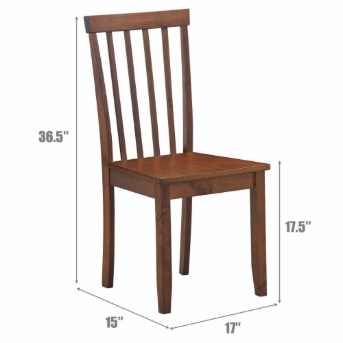 Costway Set of 2 Dining Chair Brown Kitchen Spindle Back Side Chair with Solid Wooden Legs Perspective: back