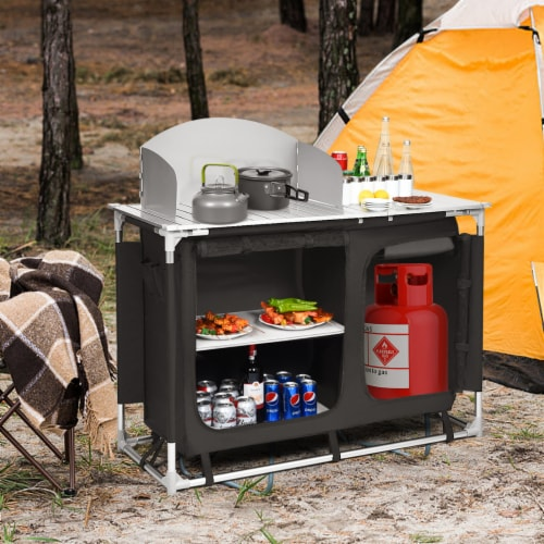 Goplus Portable BBQ Camping Grill Table Kitchen Sink Station w/ Storage Organizer Basin Perspective: back