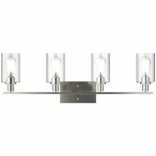 Costway 4-Light Wall Sconce Modern Bathroom Vanity Light Fixtures w/ Clear Glass Shades Perspective: back