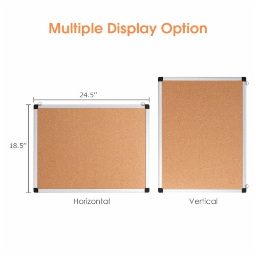 Costway 3 Pack Cork Bulletin Board 24'' x 18'' Wall Mounted Notice Board w/Aluminium Frame Perspective: back