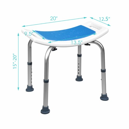 Costway Shower Bath Chair 6 Adjustable Height Bathtub Stool Bench Non-Slip Padded Seat Perspective: back