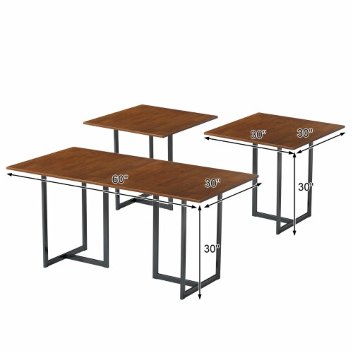 Costway 60'' Console Dining Table Rectangular Kitchen Table w/ Metal Frame and Wood Top Perspective: back
