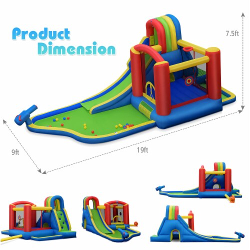 Costway Inflatable Kid Bounce House Slide Climbing Splash Pool Jumping Castle Perspective: back