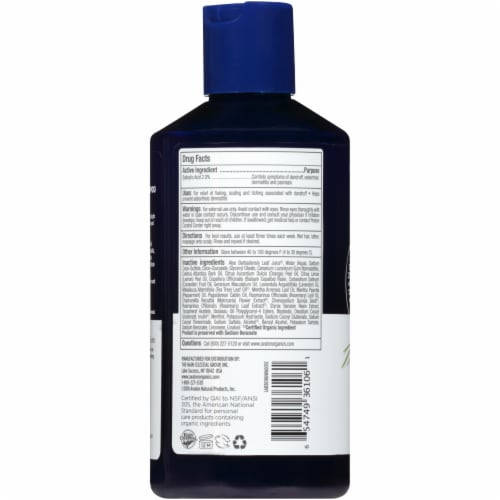 Avalon Organics Medicated Anti-Dandruff Shampoo Perspective: back