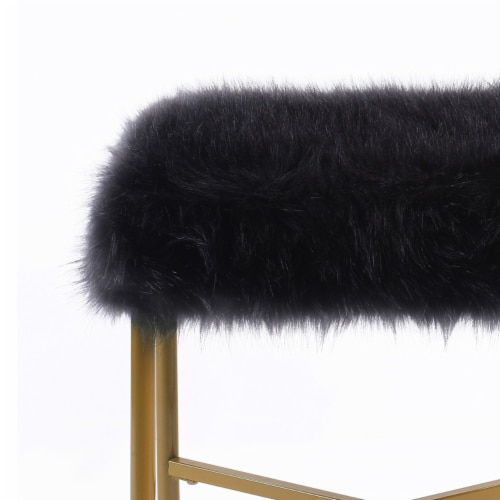 Square Faux Fur Upholstered Ottoman with Tubular Metal Legs and X Shape Base, Black and Gold Perspective: back