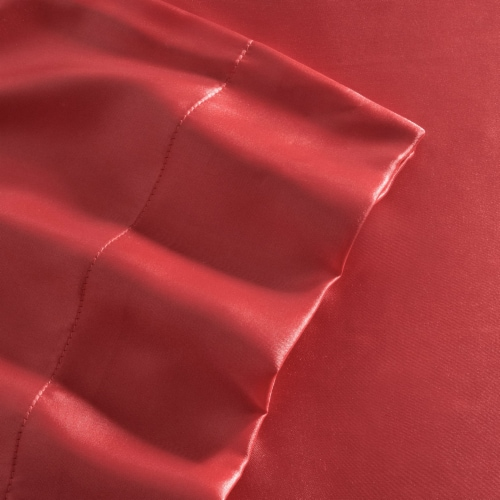 Elite Home Soft Satin Weaved Polyester Bed Sheet Set, 80 GSM, Queen Size, Red Perspective: back
