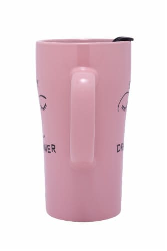 Pacific Market International Day Dreamer Latte Mug with Lid - Pink Perspective: back