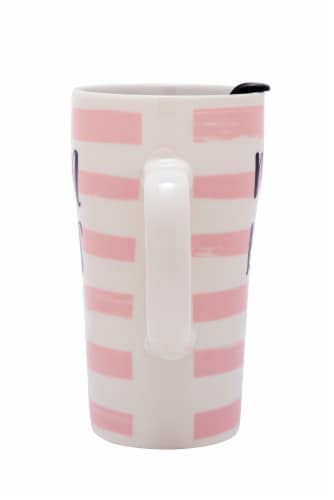 Pacific Market International Mom Boss Latte Mug with Lid - Pink/White Perspective: back