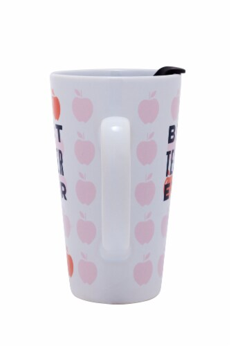 Pacific Market International Best Teacher Latte Mug with Lid - White/Pink Perspective: back