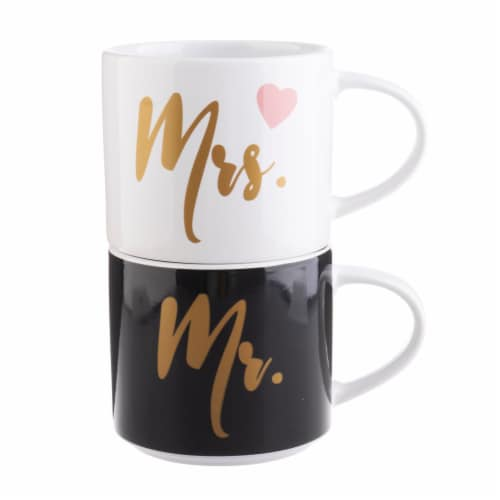 Pacific Market International Mr./Mrs. Stacking Mugs - 2 Pack Perspective: back