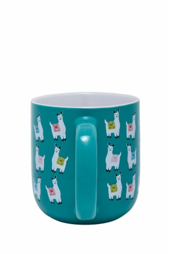 Pacific Market International Llama Flare Mug - Blue Perspective: back