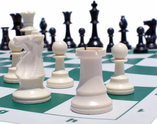 WE Games Complete Tournament Chess Set, Plastic Pieces, Green Board, Bag Perspective: back