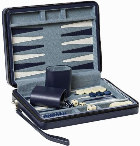 WE Games Magnetic Backgammon Set, Leatherette Case, Carrying Strap - Travel Size Perspective: back