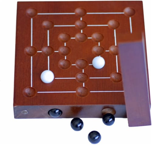 WE Games Nine Men's Morris Wooden Travel Game with Marbles - 5 inch Travel Size Perspective: back