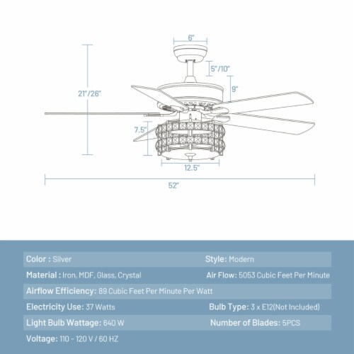 Gymax 52'' Classical Crystal Ceiling Fan Lamp w/ Reversible Blades Remote Control Home Perspective: back