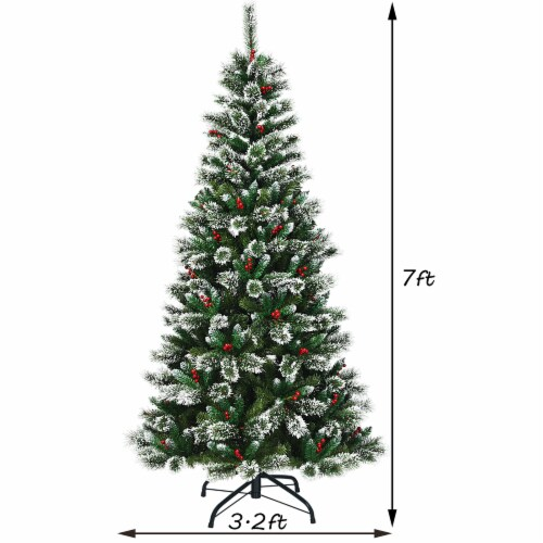 Costway 7 ft Snow Flocked Artificial Christmas Hinged Tree w/ Pine Needles & Red Berries Perspective: back