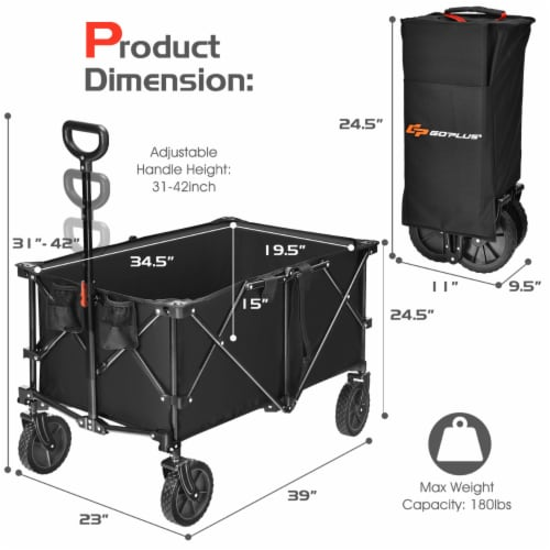 Costway Collapsible Folding Wagon Cart Outdoor Utility Garden Trolley Buggy Shopping Toy Perspective: back