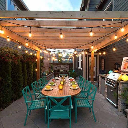 Costway 36FT LED Outdoor Waterproof Commercial Grade Patio Globe String Lights Bulbs Perspective: back