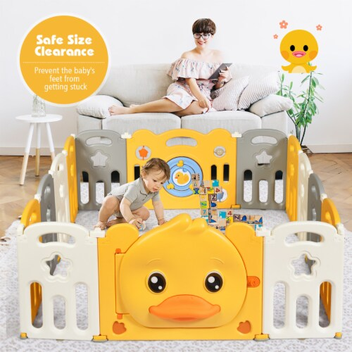 Costway 14-Panel Foldable Baby Playpen Kids Yellow Duck Yard Activity Center w/ Sound Perspective: back