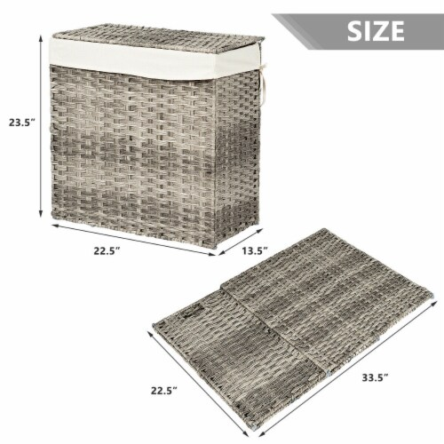 Gymax Hand-woven Laundry Basket Foldable Rattan Laundry Hamper W/Removable Bag Grey Perspective: back