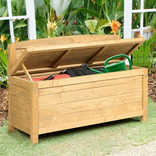 Gymax 16.5 Gallon Wood Storage Bench Deck Box Outdoor Seating Storage Container Perspective: back