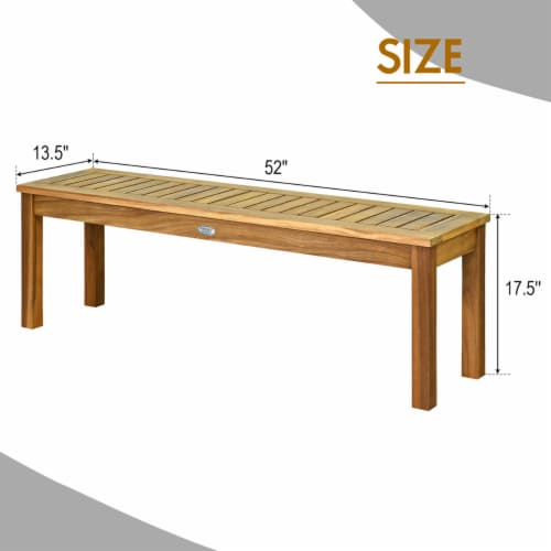 Costway 52'' Outdoor Acacia Wood Dining Bench Chair with Slatted Seat Perspective: back