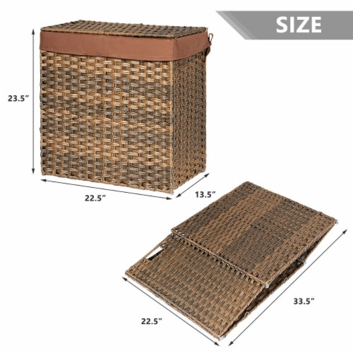 Gymax Hand-woven Laundry Basket Foldable Rattan Laundry Hamper W/Removable Bag Brown Perspective: back