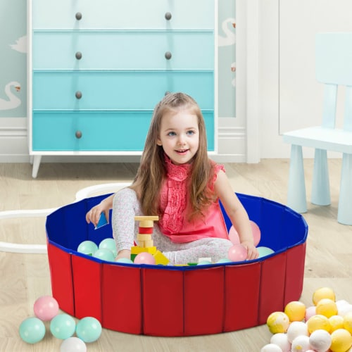 Costway 48  Foldable Kiddie Pool Kids Bath Tub Ball Pit Playpen Indoor Outdoor Portable Perspective: back