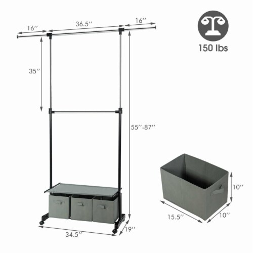 Costway 2-Rod Adjustable Garment Rack Rolling Clothes Organizer w/ Shelf & Storage Boxes Perspective: back