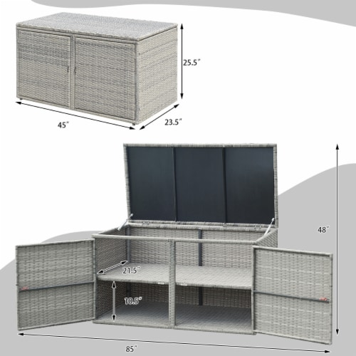 Gymax 88 Gallon Rattan Storage Box Outdoor Patio Container Seat w/ Shelf Door Perspective: back