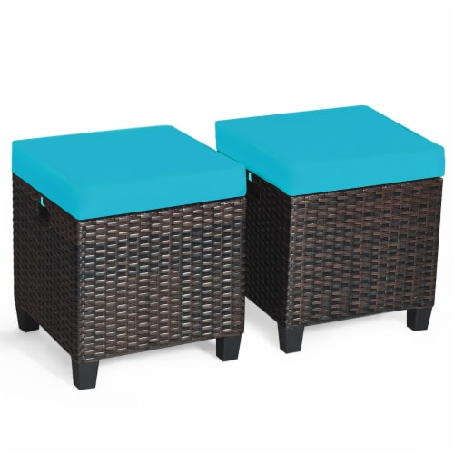 Costway 2PCS Patio Rattan Ottoman Cushioned Seat Foot Rest Coffee Table Turquoise Perspective: back